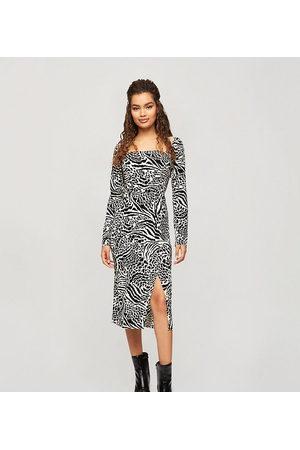 Miss Selfridge Midi dress in animal print-Brown