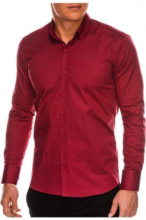 Ombre Clothing Pánská slim-fit košile s dlouhým rukávem K504 - bordó