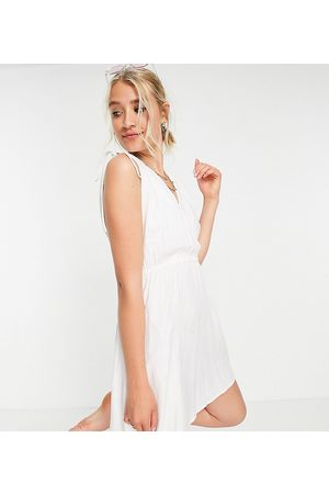 ASOS DESIGN Tall recycled gathered detail mini beach dress in white
