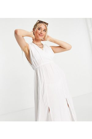 ASOS DESIGN Tall recycled gathered detail maxi beach dress in white
