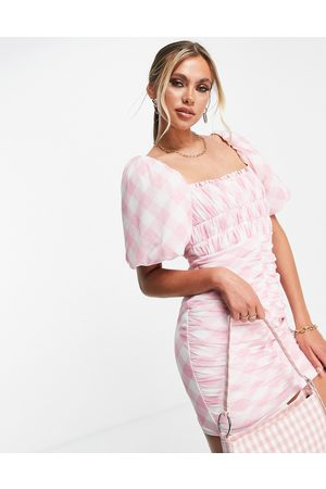 ASOS Puff sleeve ruched mesh bodycon mini dress in pink gingham print-Multi