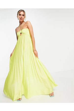 ASOS Strappy halter twisted pleated maxi dress in lime-Green