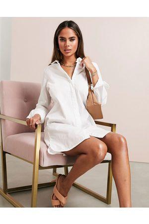 ASOS Cotton mini shirt dress in white