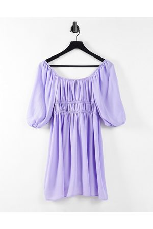 ASOS Ruched square neck mini dress with puff sleeves in lilac-Purple