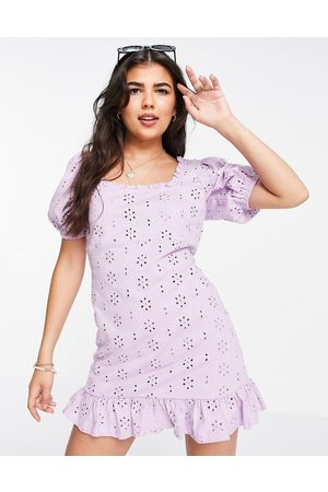 ASOS Broderie mini dress with square neck and puff sleeves in lilac-Purple
