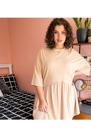 ASOS Curve oversized mini smock dress with dropped waist in camel-Brown