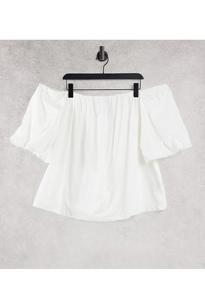ASOS Curve ASOS DESIGN Curve off the shoulder sun top with volume sleeves in ivory-No colour