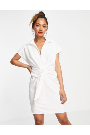 ASOS DESIGN Collared wrap front mini dress with knot in ivory-White