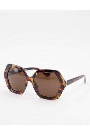 Accessorize Ženy Sluneční brýle - Hope hexagonal sunglasses in tortoiseshell-Brown