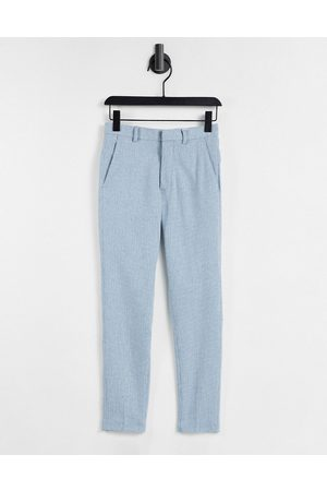 ASOS Super skinny wool mix smart trouser in blue puppy tooth