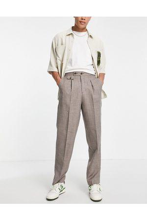 ASOS High waist slim smart trouser in brown cross hatch