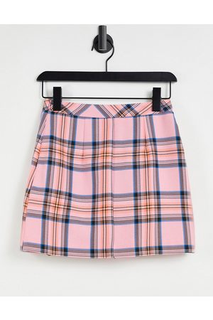 ASOS Pleated mini suit skirt in pink check-Multi