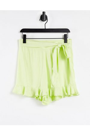 ASOS Short with tie belt detail in washed green