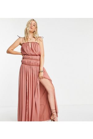 ASOS ASOS DESIGN Tall strappy maxi dress with ruched channel detail and tie straps in rose-Pink