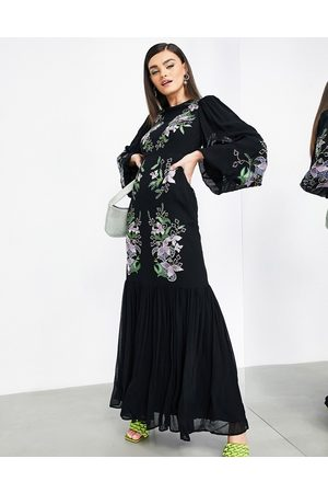 ASOS Floral embroidered tiered maxi dress in black