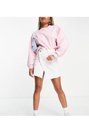 Reclaimed Inspired denim skirt with cross over waistband in multi bleach wash