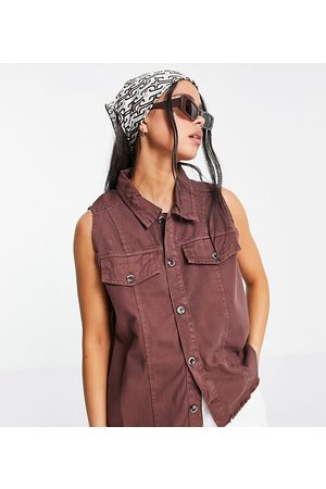 Native Youth Relaxed fit denim waistcoat in frayed chocolate co-ord-Brown