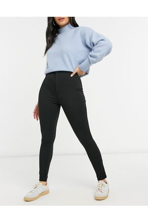 ASOS High waisted stretch treggings in ponte-Black