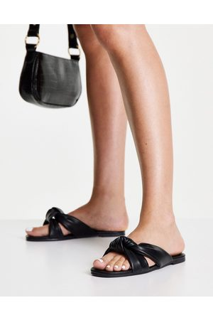 New Look Leather look knot strap sandal in black