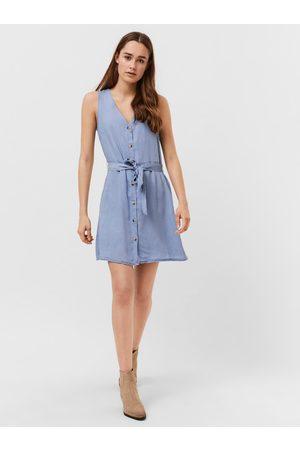 VERO MODA Světle modré džínové šaty se zavazováním Viviana