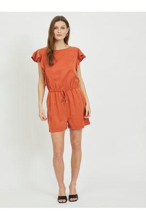 VILA Oranžový krátký overal se zavazováním Isabel