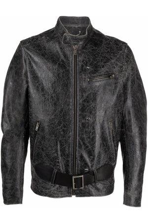 Golden Goose Muži Kožené bundy - Distressed-effect leather belted jacket