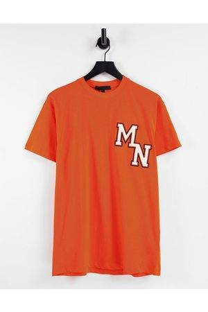 Mennace Oversized t-shirt in orange with collegiate embroidery