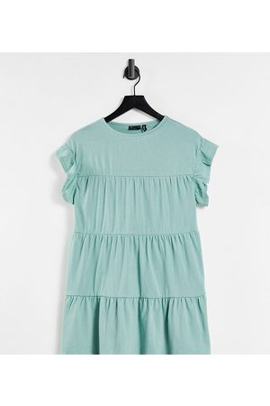 ASOS Petite frill sleeve tiered smock dress in sage-Green