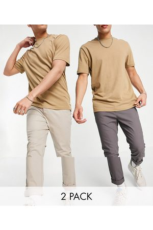 ASOS 2 pack skinny chinos in charcoal and beige save-Multi