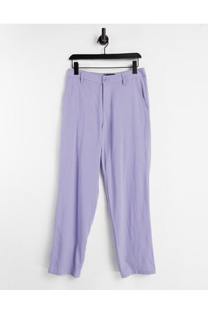 ASOS Linen mix baggy trousers in purple