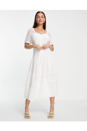 ASOS Soft sweetheart neck button through midi dress with lace inserts in white