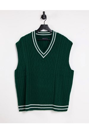 ASOS Cable knit cricket tank in bottle green