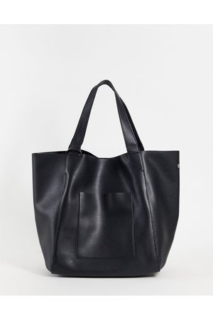 ASOS Oversized tote bag in black faux leather with detachable wallet