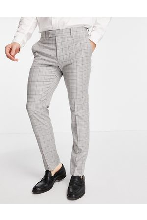 River Island Skinny suit trousers in mini grey check