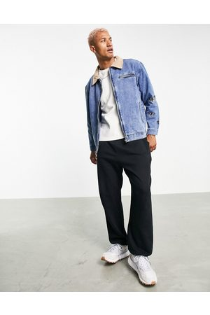 Mennace Worker denim jacket co-ord in with contrast suede collar and butterfly embroidery-Blue