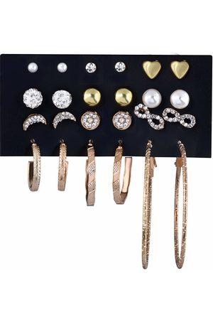 Troli Sada pozlacených kruhových náušnic a pecek se zirkony Gold/Rose Gold (12 párů)