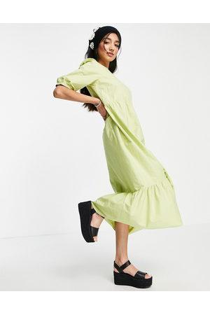 New Look Poplin midi dress in lime green