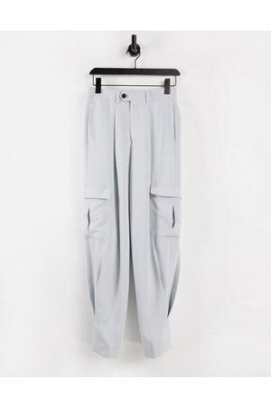 ASOS High waist slim cargo smart trouser in grey crepe