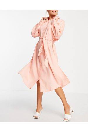 ASOS DESIGN Maxi belted beach shirt dress in dusky pink