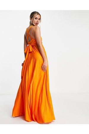 ASOS Ženy Ke krku - Plunge halter cross back self tie pleated maxi dress in orange