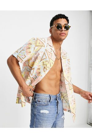 ASOS Relaxed revere shirt in linen mix with aztec pastel pattern-Pink