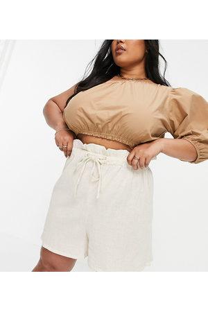 ASOS Curve ASOS DESIGN Curve paper bag waist short in natural crinkle in stone-Neutral