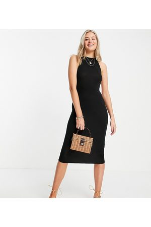 ASOS Tall ASOS DESIGN Tall high neck thick strappy back midi dress in black
