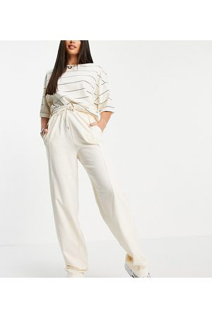 ASOS ASOS DESIGN Tall straight leg jogger with deep waistband and pintuck in organic cotton in cream-White