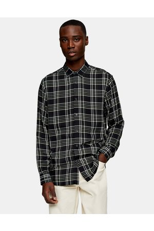 Topman Muži S dlouhým rukávem - Long sleeve check shirt in black and grey-Multi