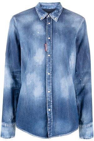 Dsquared2 Distressed-effect button-down denim shirt