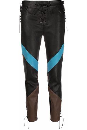 Etro Colour-block leather trousers