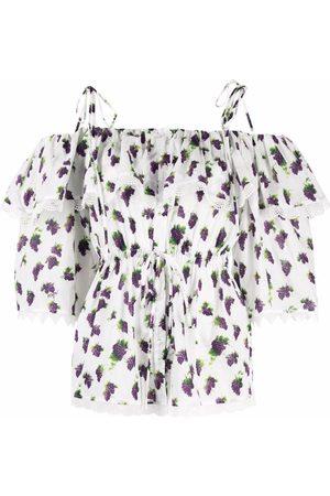 Msgm Fruit-print off-shoulder blouse