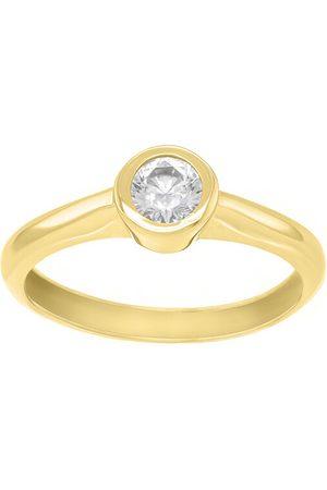 Brilio Prstýnky - Půvabný prsten ze žlutého zlata se zirkonem SR042YAU 48 mm