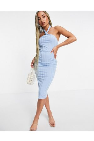 ASOS Ženy Midi - Rib knot detail corset midi dress in light blue-Multi